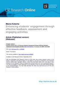 Enhancing students' engagement through effective feedback