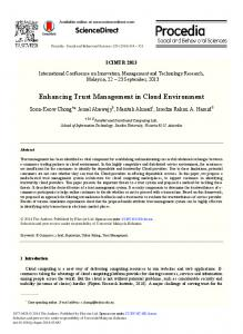 Enhancing Trust Management in Cloud Environment - Core