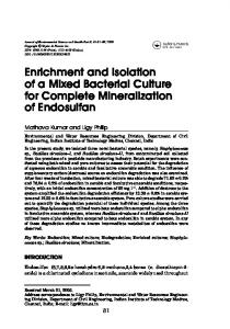 Enrichment and Isolation of a Mixed Bacterial ... - Semantic Scholar