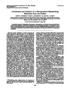 Enrichment and Isolation of a Nitropropanol-Metabolizing Bacterium ...