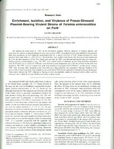 Enrichment, Isolation, and Virulence of Freeze ... - Semantic Scholar