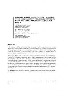 enrolled nurses' experiences of caring for multi drug resistant ...