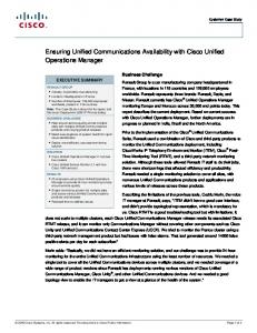 Ensuring Unified Communications Availability with Cisco Unified ...