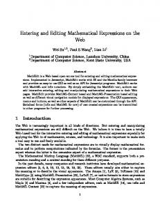 Entering and Editing Mathematical Expressions on the Web - CiteSeerX