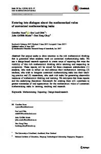 Entering into dialogue about the mathematical value of ... - Springer Link