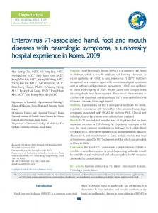 Enterovirus 71-associated hand, foot and mouth