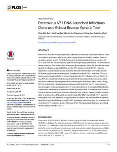 Enterovirus A71 DNA-Launched Infectious Clone as a Robust ... - PLOS