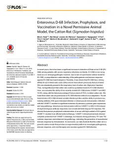 Enterovirus D-68 Infection, Prophylaxis, and Vaccination in a ... - PLOS