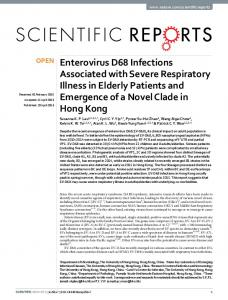 Enterovirus D68 Infections Associated with Severe Respiratory Illness ...