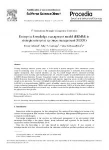 Enterprise knowledge management model (EKMM) in strategic ...