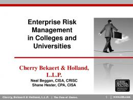 Enterprise Risk Management in Colleges and Universities