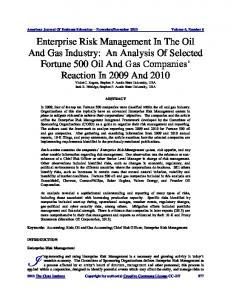 Enterprise Risk Management In The Oil And Gas