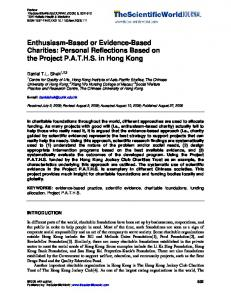 Enthusiasm-Based or Evidence-Based Charities - Downloads