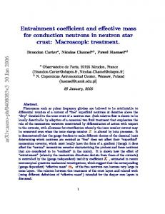 Entrainment coefficient and effective mass for conduction neutrons in ...