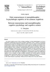 Entre neurosciences et neurophilosophie : la psychologie cognitive ...