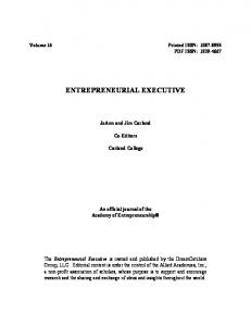 entrepreneurial executive - Allied Academies