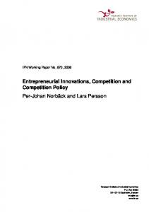 Entrepreneurial Innovations, Competition and Competition ... - Core
