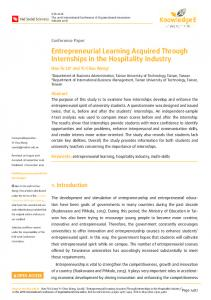 Entrepreneurial Learning Acquired Through