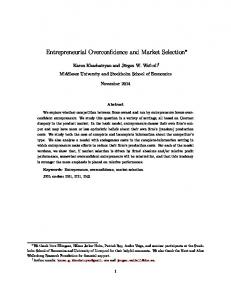 Entrepreneurial Overconfidence and Market Selection - Editorial Express