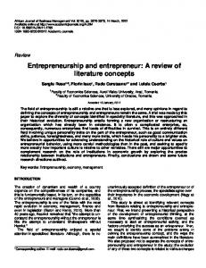 Entrepreneurship and entrepreneur: A review of ... - Academic Journals
