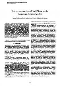 Entrepreneurship and Its Effects on the Romanian Labour Market