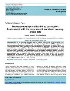Entrepreneurship and its link to corruption - Academic Journals