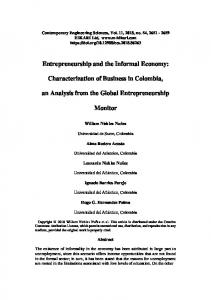 Entrepreneurship and the Informal Economy - Hikari Ltd