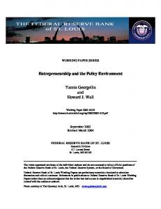 entrepreneurship and the policy environment - Economic Research ...