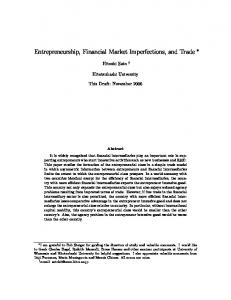 Entrepreneurship, Financial Market Imperfections, and Trade