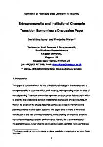 Entrepreneurship, Institutions and Institutional Change in Transition ...