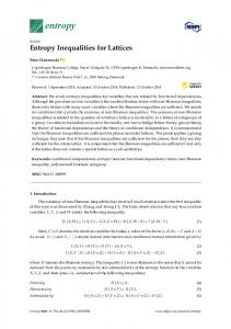 Entropy Inequalities for Lattices - MDPI