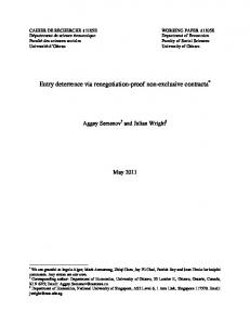 Entry deterrence via renegotiation-proof non ...