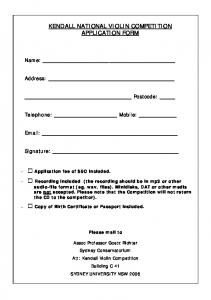 Entry Form - Kendall National Violin Competition