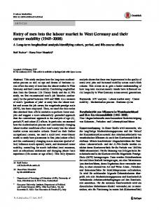 Entry of men into the labour market in West Germany and their ... - Core
