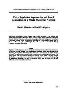 Entry Regulation Asymmetries and Petrol Competition ...