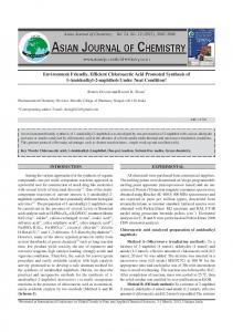 Environment Friendly, Efficient Chloroacetic Acid Promoted Synthesis ...