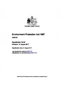 Environment Protection Act 1997 - ACT Legislation Register