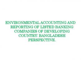 environmental accounting and reporting of listed banking companies