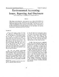 Environmental Accounting: Issues, Reporting And ... - Clute Institute