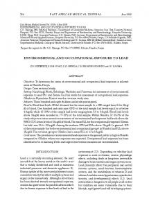 EnvironmEntal and occupational ExposurE to lEad - African Journals ...