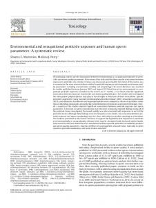 Environmental and occupational pesticide exposure ...