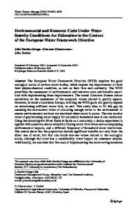 Environmental and Resource Costs Under Water ... - Springer Link