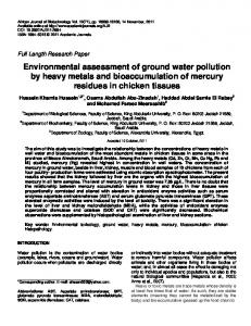 Environmental assessment of ground water pollution by heavy metals ...