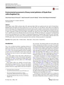 Environmental assessment of heavy metal pollution of ...