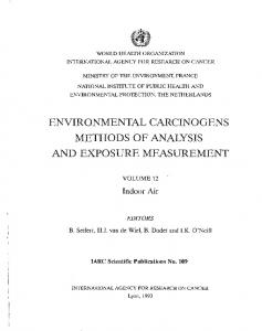 environmental carcinogens methods of analysis and ...