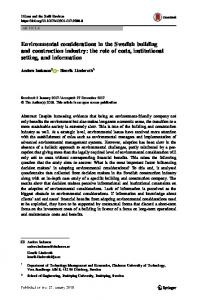 Environmental considerations in the Swedish building and ...