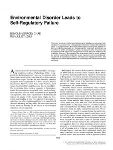 Environmental Disorder Leads to Self-Regulatory ... - Oxford Journals
