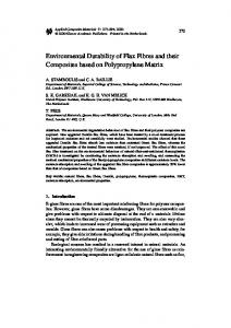 Environmental Durability of Flax Fibres and their Composites based ...