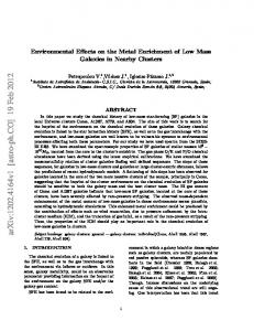 Environmental Effects on the Metal Enrichment of Low Mass Galaxies ...