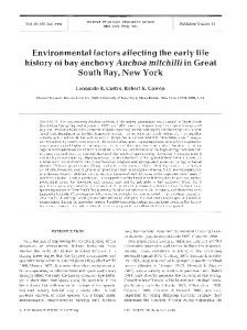Environmental factors affecting the early life history of ... - Inter Research